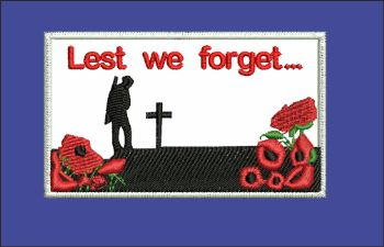 Lest we forget / Poppy / Soldier Embroidered badge